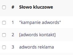 Typy dopasowań w AdWords i ich oznaczenia.