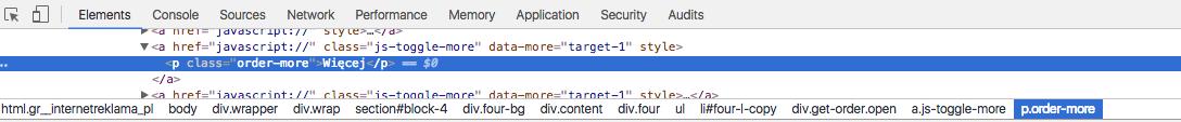 Klasa elementu w kodzie strony