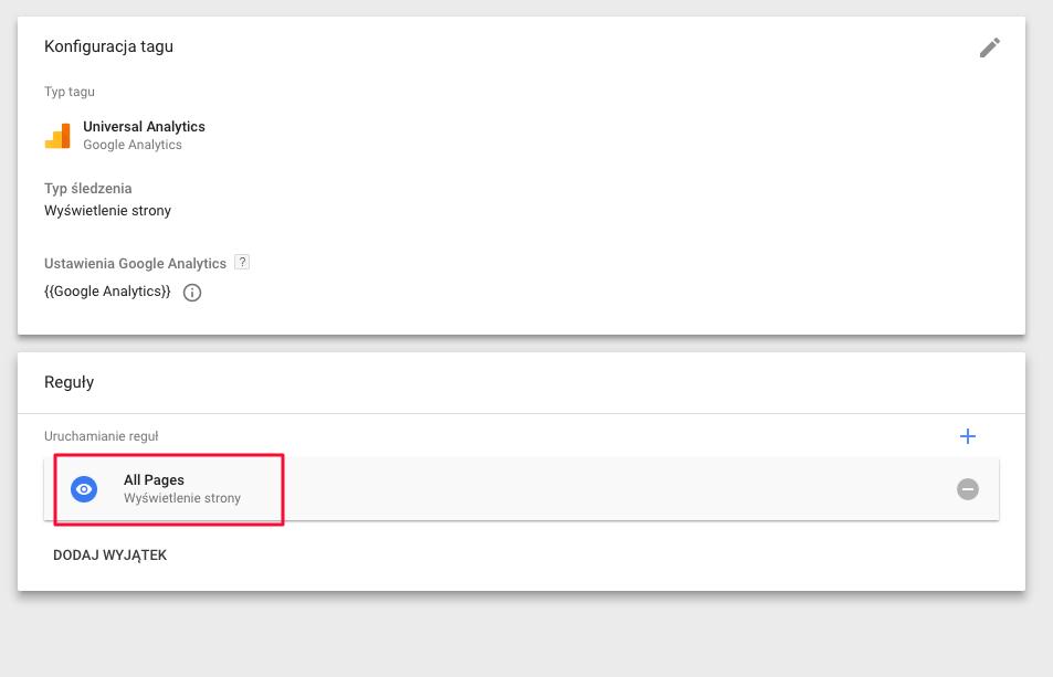 Dodawanie reguły w Google tag manager