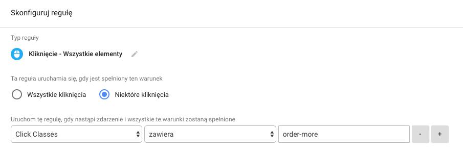Konfiguracja reguły dla zmiennej Click Classes w menedżerze tagów Google