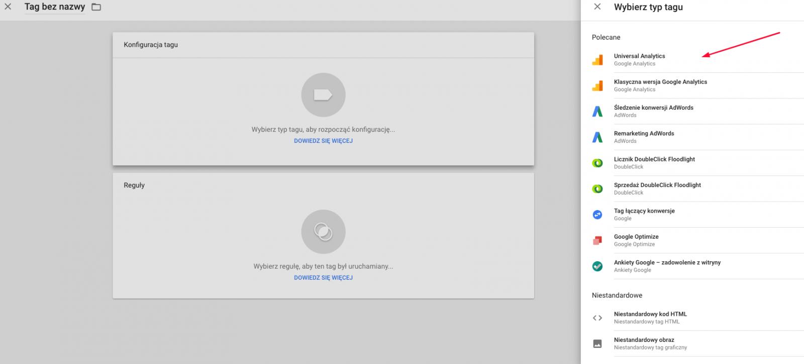 Konfiguracja tagu Google Analytics w Google tag manager