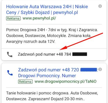 Reklama typu tylko połączenia: i Ogłoszenie z rozszerzeniem połączeń