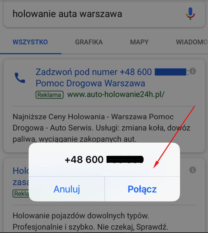 Kampania tylko połączenia w Adwords: okno z połączeniem