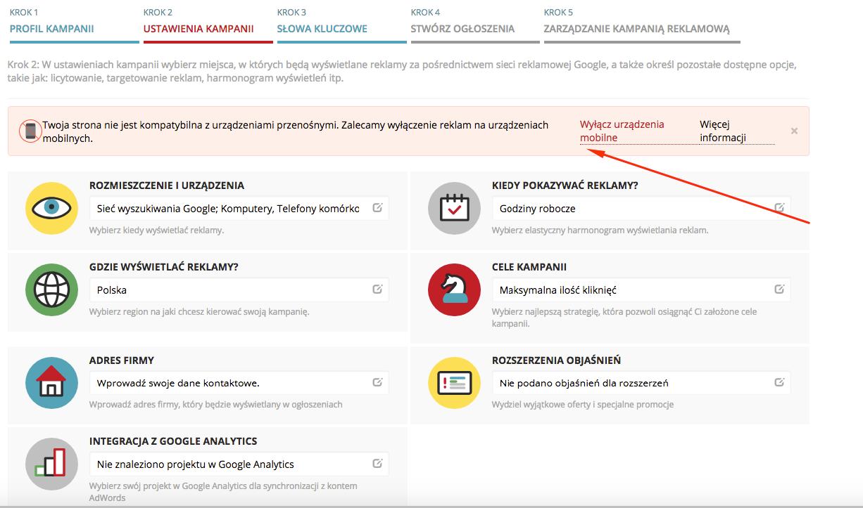 Kampania Adwords - optymalizacja strony na urzadzeniach mobilnych