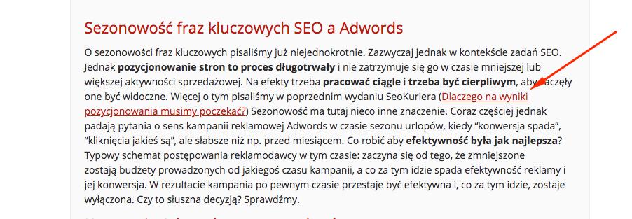 Linki w artykułach reklamowych