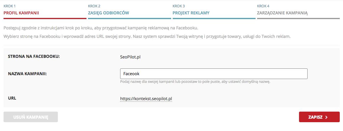 Kampanie w Facebook Ads w SeoPilot